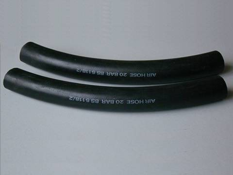 Two air hoses with black color smooth surface.