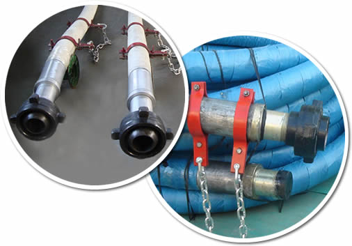 Two rolls of rotary drilling hose in blue cover and two pieces detail.