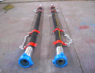 Two rotary drilling hoses are on the ground.